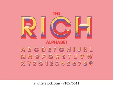 Vector of modern colorful bold font and alphabet