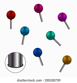 Vector modern colorful pins set on white background. Eps10