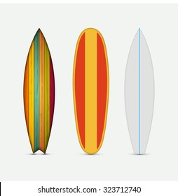 Vector modern colorful surfboard set on white background