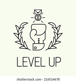 Vector modern concept design on level up | Trendy level up minimalistic icon
