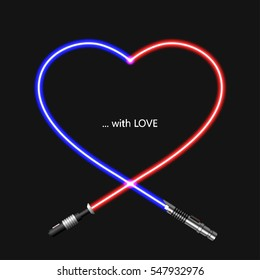 Vector modern concept heart and lightsaber for Valentines day or womens day background