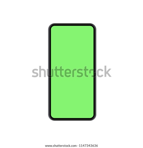 Vector modern concept smartphone with green screen on white background