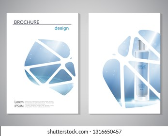 Vector modern cosmetics brochure. Flyer with geometric background. Layout template, perfume for the promotion of premium product. Poster of blue, white color. Trendy minimalist design.