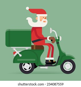 Vector modern creative Christmas concept illustration featuring Santa Claus riding green delivery scooter | Xmas character Santa Claus on green moped