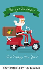Vector modern creative christmas concept illustration featuring Santa Claus rinding red delivery scooter isolated and green ribbon with sample text | Xmas greeting card cover template