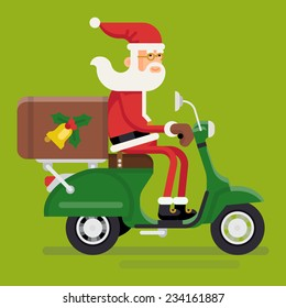 Vector modern creative christmas concept illustration featuring Santa Claus rinding green delivery scooter isolated | Xmas character Santa Claus on green moped