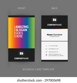 Modern simple dark vertical business card stock vector royalty free vector modern creative and clean business card template with rainbow element reheart Images
