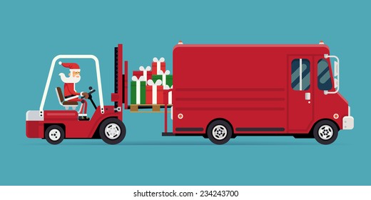 Vector modern creative concept design on christmas gifts delivery and shipment | Cartoon character Santa Claus loading a pile of gift boxes into red delivery truck, side view