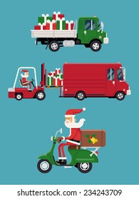 Vector modern creative concept design on christmas gifts shipment featuring Santa Claus loading a pile of gift boxes into cargo van, flatbed truck with pile of gifts and Santa riding delivery scooter