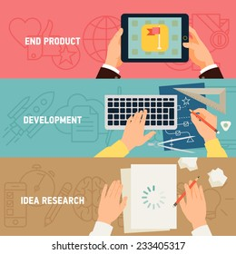 Vector modern creative concept flat design on application development stages, digital media industry, idea research, programming and end product