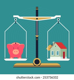 Vector modern creative flat concept design on residential property pricing and cost analyzing | Real estate investment costs and budget consumption with scales, piggy bank and house icons