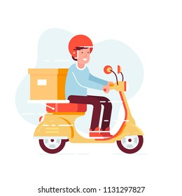 Vector modern creative flat design illustration featuring office worker commuting on retro scooter with the delivery box on back. Man in helmet riding classic looking moped, side view. Vector