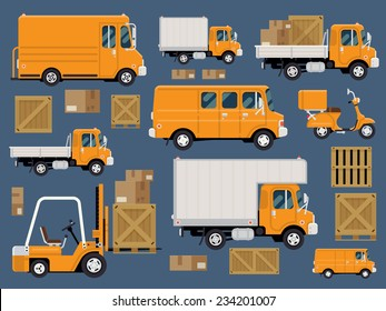 Vector modern creative flat design logistics fleet vehicles set featuring cargo trucks and vans, delivery scooter, forklift, cardboard and wooden boxes and containers
