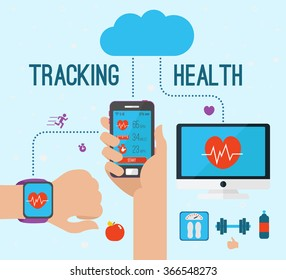 Vector modern creative infographics design on modern high tech devices using in everyday life showing man tracking his health condition with smart bracelet, mobile application and cloud services