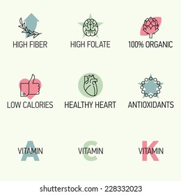 Vector modern creative line icons on healthy organic food benefits | Set of nine food features such as high fiber, organic, low calories, antioxidants and vitamins