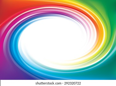 Vector modern creative wonderful eddy futuristic festival happy aqua backdrop of vivid multi colored glossy curled striped spraying ripple sphere. Closeup view with space for text in middle of funnel