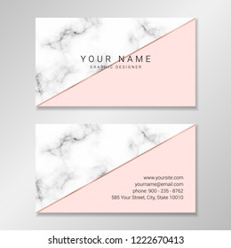 Vector modern customizable business card. Easy to customize with your own text. Business card design with marble and pale pink geometric shapes and faux rose gold foil diagonal stripe.