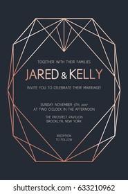 Vector modern design template for wedding invitation. Rose gold geometric diamond on dark background. Art Deco pattern