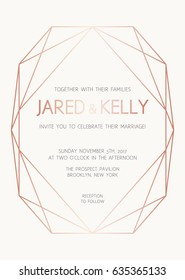 Vector modern design template for wedding invitation. Background with rose gold diamond