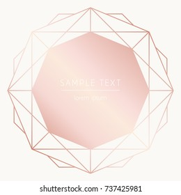 Vector modern design template for wedding or birthday invitation, brochure, poster or business square card. Art Deco geometric rose gold pattern on a light background
