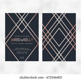 Vector modern design for wedding invitation. Art Deco geometric rose gold pattern