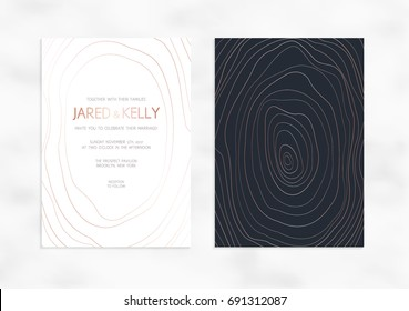 Vector modern design wedding invitation. Vector modern design wedding invitation. Dark background with rose gold lines. Marble texture with rose gold lines. Dark background