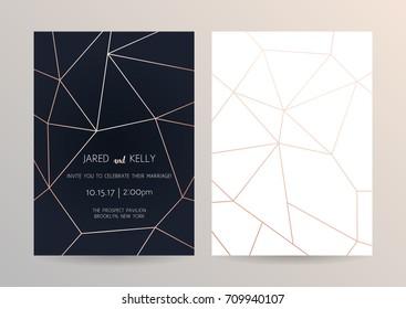 Vector modern design wedding invitation. Dark background with geometric rose gold pattern
