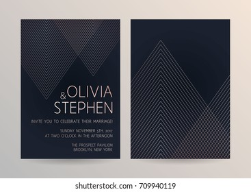 Vector modern design wedding invitation. Trendy geometric stripes pattern on a dark background. Rose gold color