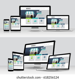 Vector Modern devices with web design template. mobile, laptop, computer, tablet.