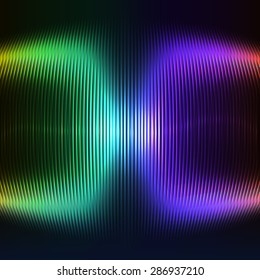 Vector modern digital wave as a rainbow. Abstract illustration of an equalizer with light effects