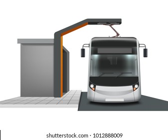 Vector modern electric bus semi during charging, isolation on white background