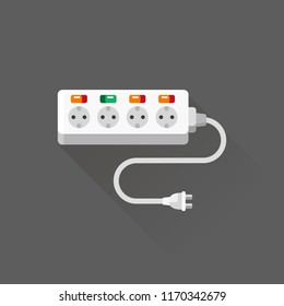 vector modern electric extension cord with safety switches / flat, isolated, sign and icon template