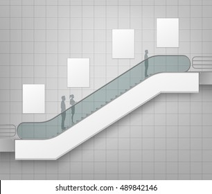 Vector Modern Escalator with Place for Advertising Side view Isolated on Office Mall Shopping Center Business Building Interior Background
