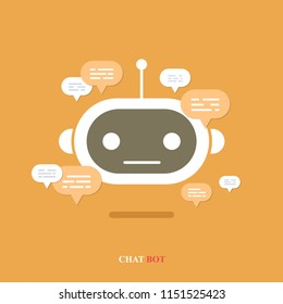 Vector modern flat chat bot with speech bubble icons on orange background. Support cartoon smart robot design