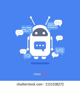 Vector modern flat chat bot with speech bubble icons on blue background. Support cartoon smart robot design