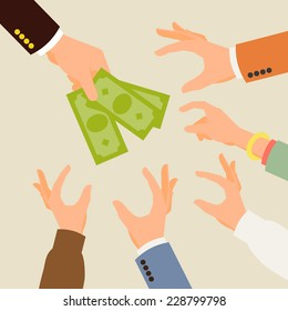 Vector modern flat concept design on funding | Creative illustration on hand holding green banknotes and multiple hands reached out to take it