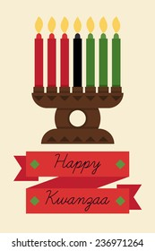 Vector modern flat concept design on Kwanzaa greeting card featuring Kinara candle holder with three red, one black and three green lit up candles | Happy Kwanzaa banner template
