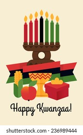 Vector modern flat concept design on Kwanzaa greeting card featuring Kinara candle holder with lit up candles, flag, ear of corn, cup, red apple, gift box | Happy Kwanzaa illustration with title