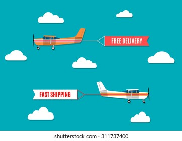 Vector modern flat concept design on flying advertising banners pulled by light plane