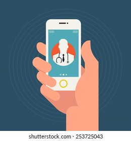 Vector modern flat concept web banner design on hand holding mobile phone with medical assistance and doctor consultation online featuring abstract physician icon
