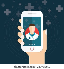 Vector modern flat concept web banner design on hand hand holding smartphone with medical assistance and doctor consultation online featuring abstract physician icon