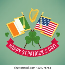 Vector modern flat design decoration on Happy Saint Patrick's Day featuring stars and stripes flag, Ireland flag, golden harp, clover leaves and greeting title on ribbon