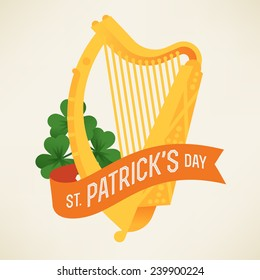 Vector modern flat design greeting card or poster template on Happy Saint Patrick's Day featuring golden harp, shamrock and orange ribbon with greeting text