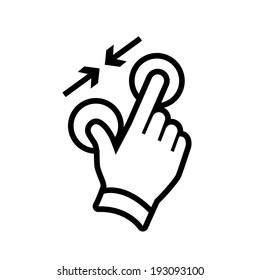 vector modern flat design hand pinch zoom out gesture icon black isolated on white background