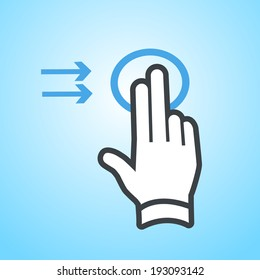 vector modern flat design hand two fingers swipe gesture icon isolated on blue background