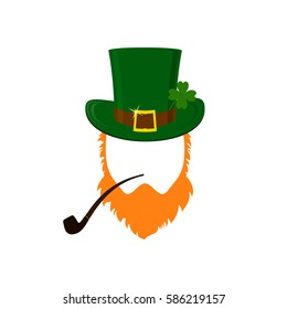 Vector modern flat design icon on Saint Patrick's Day character leprechaun with green hat, red beard, smoking pipe and no face.