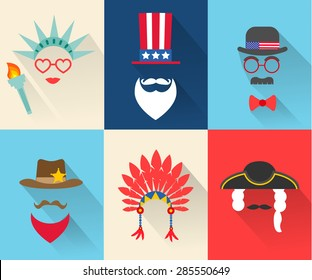 Vector modern flat design icons on 4 July Independence Day characters with different hats, beards, glasses and no face. Costumes and masks of Statue of liberty; Uncle Sam; sheriff etc.