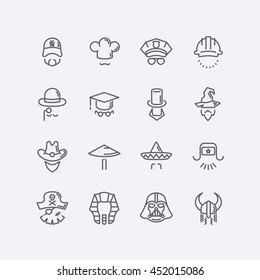 Vector modern flat design icons characters with different hats, beards, glasses and no face