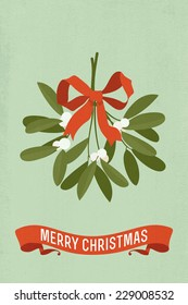 Vector modern flat design illustration on christmas mistletoe with red bow and 'merry christmas' title on ribbon
