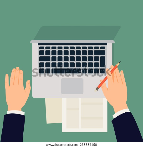 Vector modern flat design illustration on male hands working with paper documents and laptop, top view